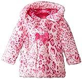 Pistachio Little Girls' Toddler Faux Fur Animal Print Coat, Pink, 2T