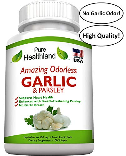 AMAZING ODORLESS Garlic And Parsley Supplement Softgels For Men And Women. Equal To 500mg Fresh Garlic Bulbs. Best Garlic Pills. Allium Sativum Helps Lower Cholesterol And Blood Pressure Naturally. Review