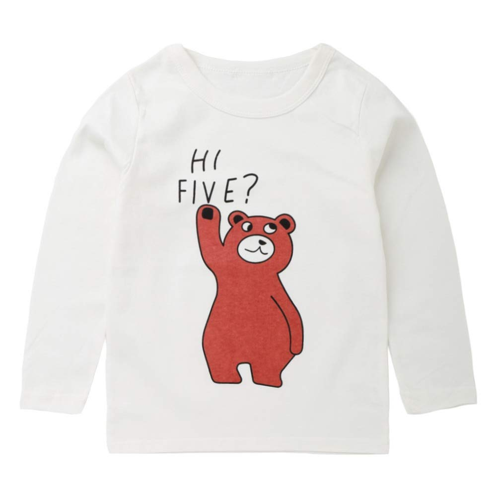 Urmagic Toddler Baby Boys T-Shirt, Kids Boy HI Five Bear Pattern Long Sleeve Soft Cotton Comfy Warm Sweater Tops Pullover T-Shirt Outfits Clothes