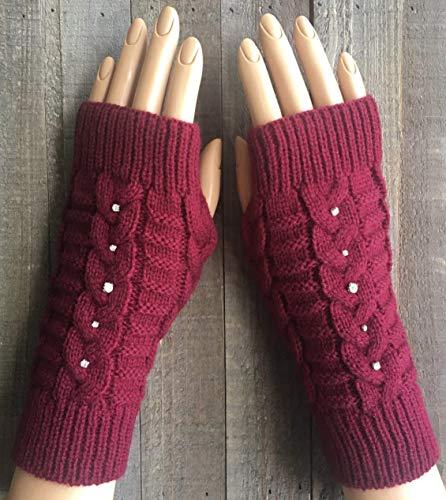 Cable Knit Fingerless Gloves Women Burgundy Red Rhinestone Black White Beige Acrylic Arm Warmers Winter Mittens Hand Warmers Handmade -