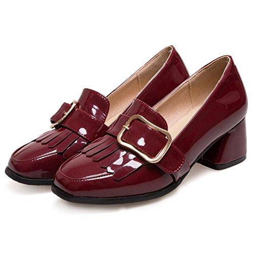 COOLCEPT Women Block Heels Court Shoes Claret 6o1x6K0eM
