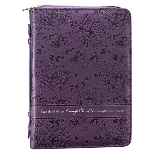Christian Art Gifts Purple Faux Leather Bible Cover for Women | All Things Through Christ- Philippians 4:13 | Zippered Case for Bible or Book w/Handle