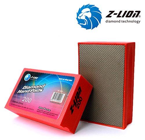 Z-Lion Electroplated Diamond Hand Polishing Pad Foam Back for Granite Marble Stone Glass Ceramic (200#) ()
