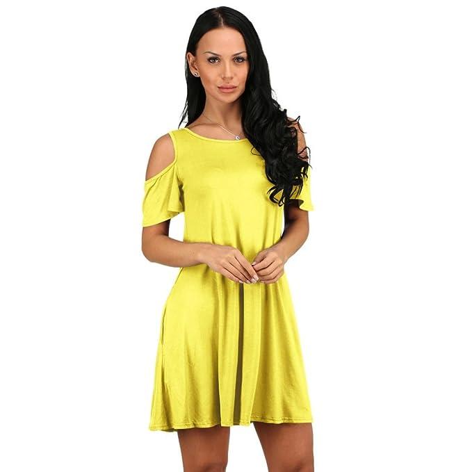 VENMO Mujer Verano Algodón Suelto Color Sólido Off Hombro Casual Mini Vestido Corto con bolsillos (