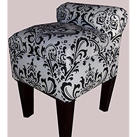 Rolled Arm Vanity Stool Chair Black White Traditions