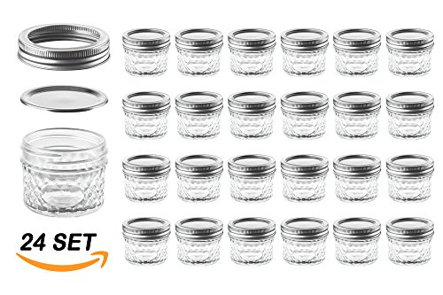 Nellam Quilted Glass Jars with Lids - 4 OZ Wide Mouth Crystal Jelly Glasses, Set of 24 Silver, for Canning, Preserving Food - each Mini Mason Jar is Freezer, Microwave, (Mini Mason Jars In Bulk)