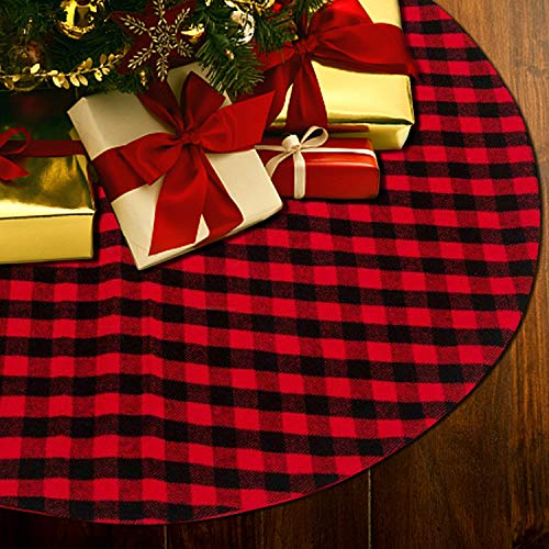 THAWAY Red and Black Buffalo Plaid Christmas Tree Skirt 48 inches Double Layers Tree Skirt for Christmas Holiday Party Decorations ()