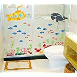 Asmi Collections Wall Stickers Fish In Sea For Bathroom Df5092