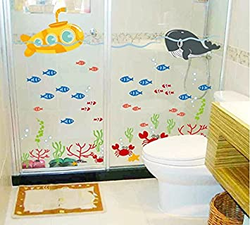 Asmi Collections Wall Stickers Fish In Sea For Bathroom Df5092 Part 47