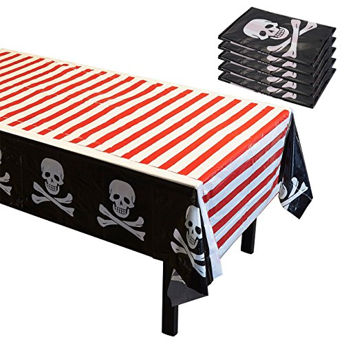 Pirate Party Supplies - 6 Pack of Skulls and Crossbones Disposable Plastic Rectangular Tablecloths for Kids, Birthday Table Cover Decorations in Red White and Black 54 x 108 Inches (Cover Striped Table Red)