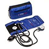 Manual Blood Pressure Cuff By Paramed - Professional Aneroid Sphygmomanometer With Carrying Case - Adult Sized Cuff - Blood Pressure Monitor Set With Stethoscope (Dark Blue)