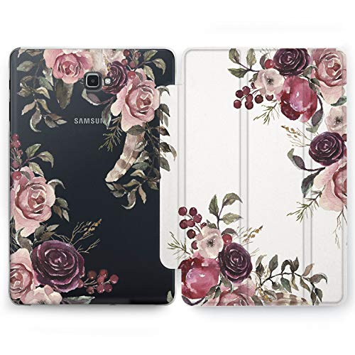Wonder Wild Vintage Bouquet Samsung Galaxy Tab S4 S2 S3 A E Smart Stand Case 2015 2016 2017 2018 Tablet Cover 8 9.6 9.7 10 10.1 10.5 Inch Clear Design Tulips Rose Print Leaves Luxury Trend Drawn
