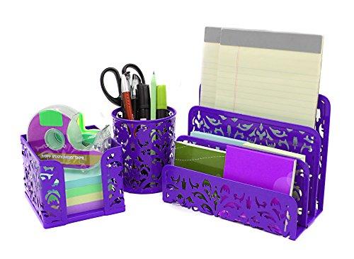 - EasyPAG Carved Hollow Flower Pattern 3 in 1 Desk Organizer Set - Letter Sorter, Pencil Holder and Stick Note Holder,Purple