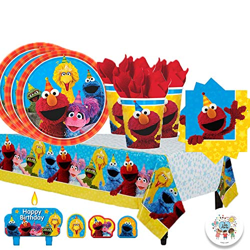 Sesame Street Birthday Party Pack for 16 with Plates, Napkins, Cups, Tablecover, and Candles with Exclusive Party Pin By Another -