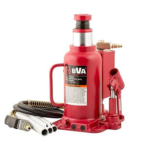 BVA Hydraulics J18204 Air/Manual Bottle Jack, 20 Tons, 10'' Height, 10'' Width, 18'' Length by BVA HYDRAULICS