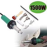 Iglobalbuy 110V 1080W/1500W Handheld Plastic Welding Gun Hot Air Torch Welder Gun PVC Vinyl Flooring Tools Heat Gun with 2 Nozzle and Roller (1500W)