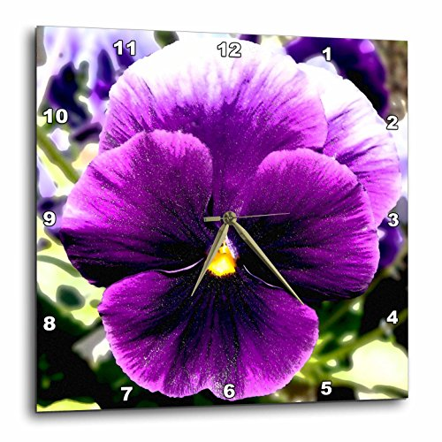 3dRose dpp_181364_1 Giant Purple Pansy-Wall Clock, 10 by ...
