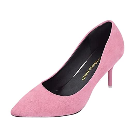 ¡Oferta de liquidación! Mujeres de Covermason Nude Fashion Elegant Ladies Office Trabajo Flock High Heels Shoes(42 EU, Rosado): Amazon.es: Ropa y accesorios