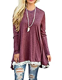 d150c0850ad842 Women s Tops Long Sleeve Lace Scoop Neck A-Line Tunic Blouse
