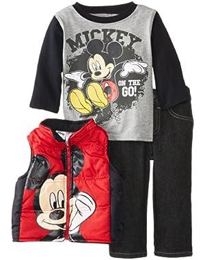 Baby Boys' Mickey Mouse 3 Pieced Nylon Vest Set