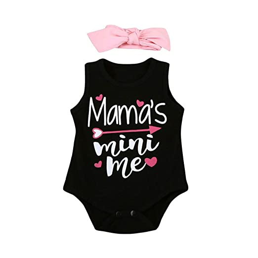 d5618c68dfee Amazon.com  FEITONG 2Pcs Newborn Infant Baby Romper Mother s Day Boys Girls  Letter Print Sleeveless Romper Jumpsuit Outfits + Hairband  Clothing