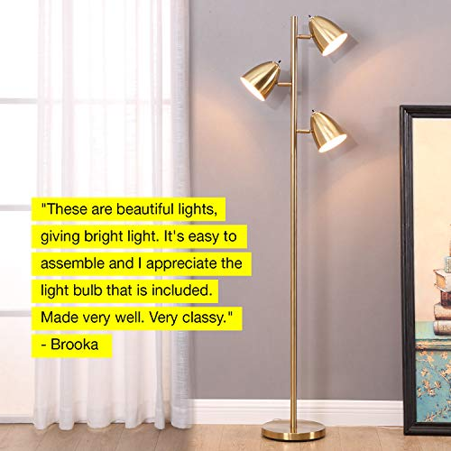 Brightech Jacob – LED Reading and Floor Lamp for Living Rooms & Bedrooms – Classy, Mid Century Modern Adjustable 3 Light Tree – Standing Tall Pole Lamp with 3 LED Bulbs – Antique Brass/Gold