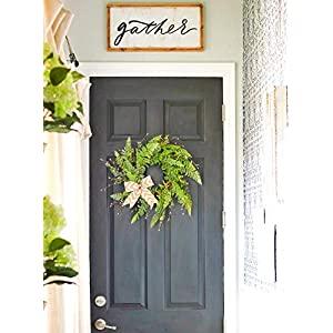 Tiny Land 22 Inches Spring Wreath for Front Door with Knotted Bow, Handcrafted Wicker Rattan Loop Frame | Faux Home Decorative Display | Rustic, Farmhouse Decor 4