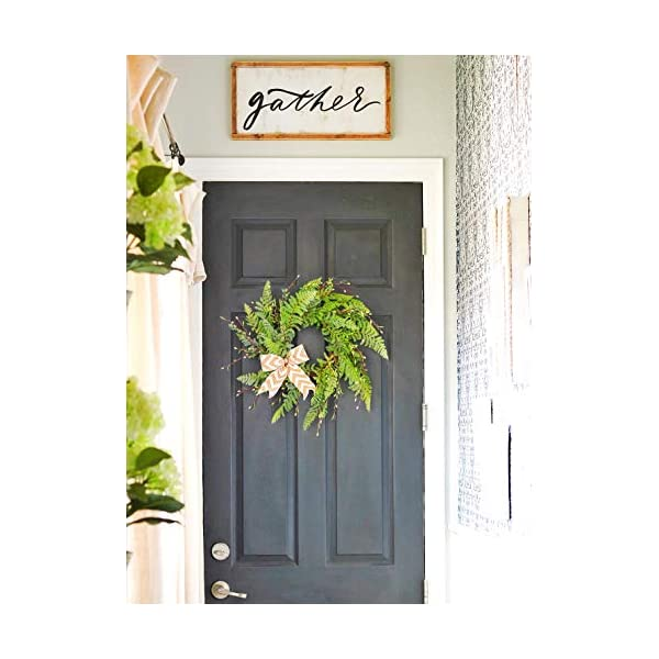 19″ Wreath for Front Door with Knotted Bow, Handcrafted Wicker Rattan Loop Frame – Faux Home Decorative Display – Rustic, Farmhouse Decor