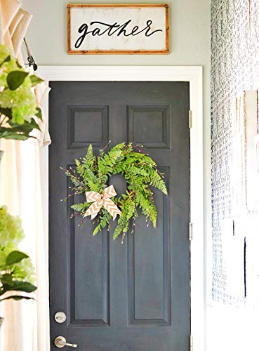 "19"" Wreath for Front Door with Knotted Bow, Handcrafted Wicker Rattan Loop Frame - Faux Home Decorative Display - Rustic, Farmhouse Decor"