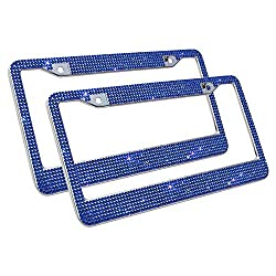 Handcrafted Blue Crystal Rhinestone License Plate Frame