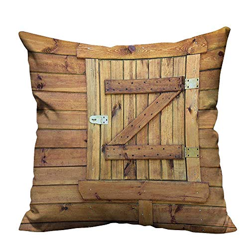 Durable Cotton Cushion Covers Closed Wooden Shutters Planks Rough Rustic Countryside Classic Design ation Golden Oak Comfortable and Breathable26x26 inch(Double-Sided Printing) ()
