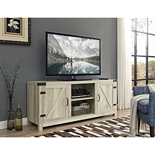 Empire Finish Table - New 58 Inch Door Television Stand with Side Doors in White Oak Finish