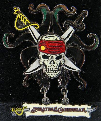 (Disney Pin - Pirates of the Caribbean - Skull, Crossed Swords and Tentacles - Dangle - Pin 47080 )
