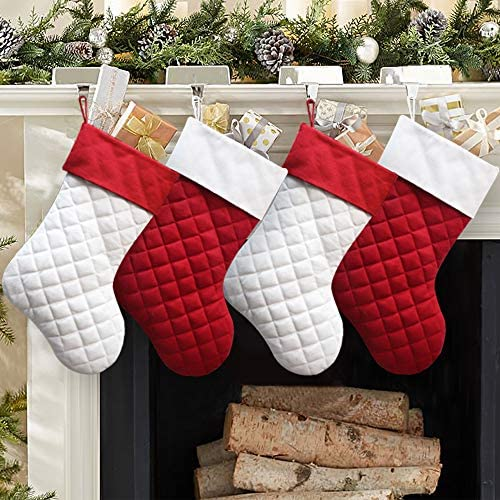 Modern Holiday Decor Christmas Present Packaging Quilted Christmas Stocking Stocking Stuff Red /& Green
