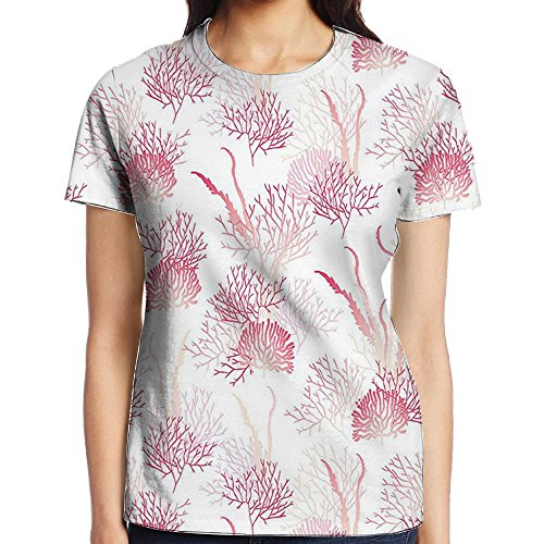 WuLion Ocean Algae Sea Bed Plants Exotic Underwater Aquatic Shallow Reefs Artwork Women's 3D Print T Shirt XL White