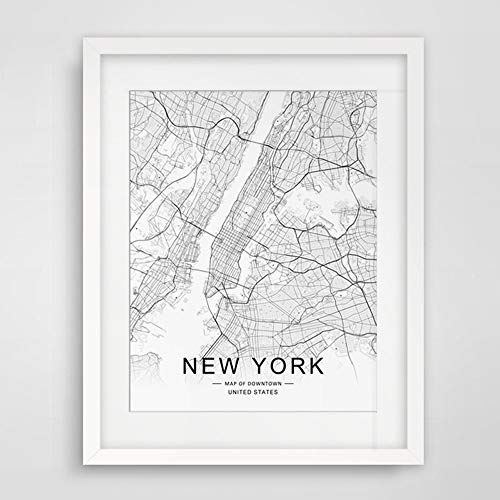 (New York City Downtown Map Wall Art New York Street Map Print New York Map Decor City Road Art Black and White City Map Office Wall Hanging 8x10 inch No Frame)