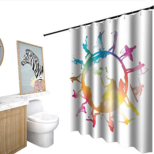 (RenteriaDecor World Map Funny Shower Curtain Golf Football Baseball Archery Basketball Players On Globe Picture Mildew Resistant Pink Orange Pale Blue W48 x L84)