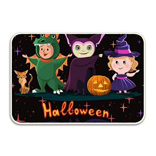 (FunnyLife Halloween Poster with Kids in Costumes of Witch Rubber Non-Slip Entry Way Floor Mat Outdoor Indoor Decor Rug)