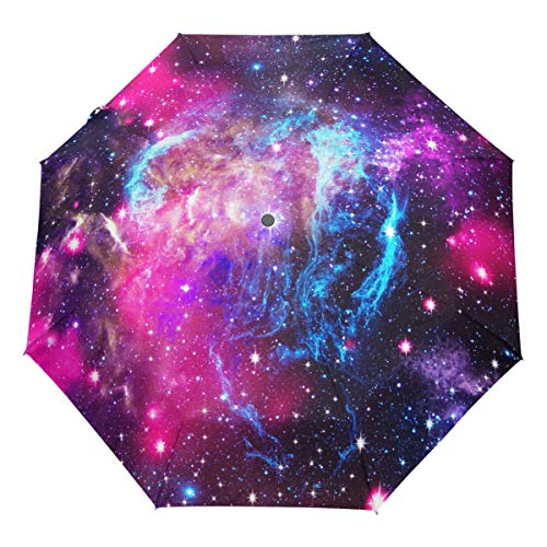 6e2710714541 Wamika Space Nebula Galaxy Universe Stars Auto Umbrella Open Close  Windproof Travel Umbrella Lightweight Compact Parasol Umbrellas Sun & Rain