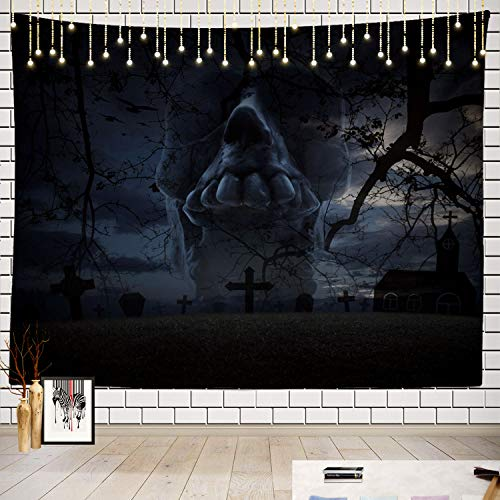 Paisley Abbey Halloween (Batmerry Skull Tapestry, Human Skull Birds with Spooky Halloween Cross Forest Picnic Mat Beach Towel Wall Art Decoration for Bedroom Living Room Dorm, 51.2 x 59.1 Inches,)