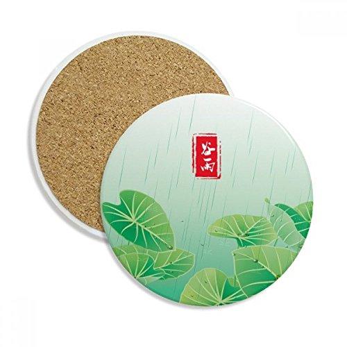 Circlar Grain Rain Twenty Four Solar Term Ceramic Coaster Cup Mug Holder Absorbent Stone for Drinks 2pcs Gift by DIYthinker