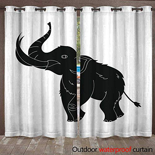 (RenteriaDecor Outdoor Balcony Privacy Curtain Woolly Mammoth icon in Black Style Isolated on White Background W84 x L108)
