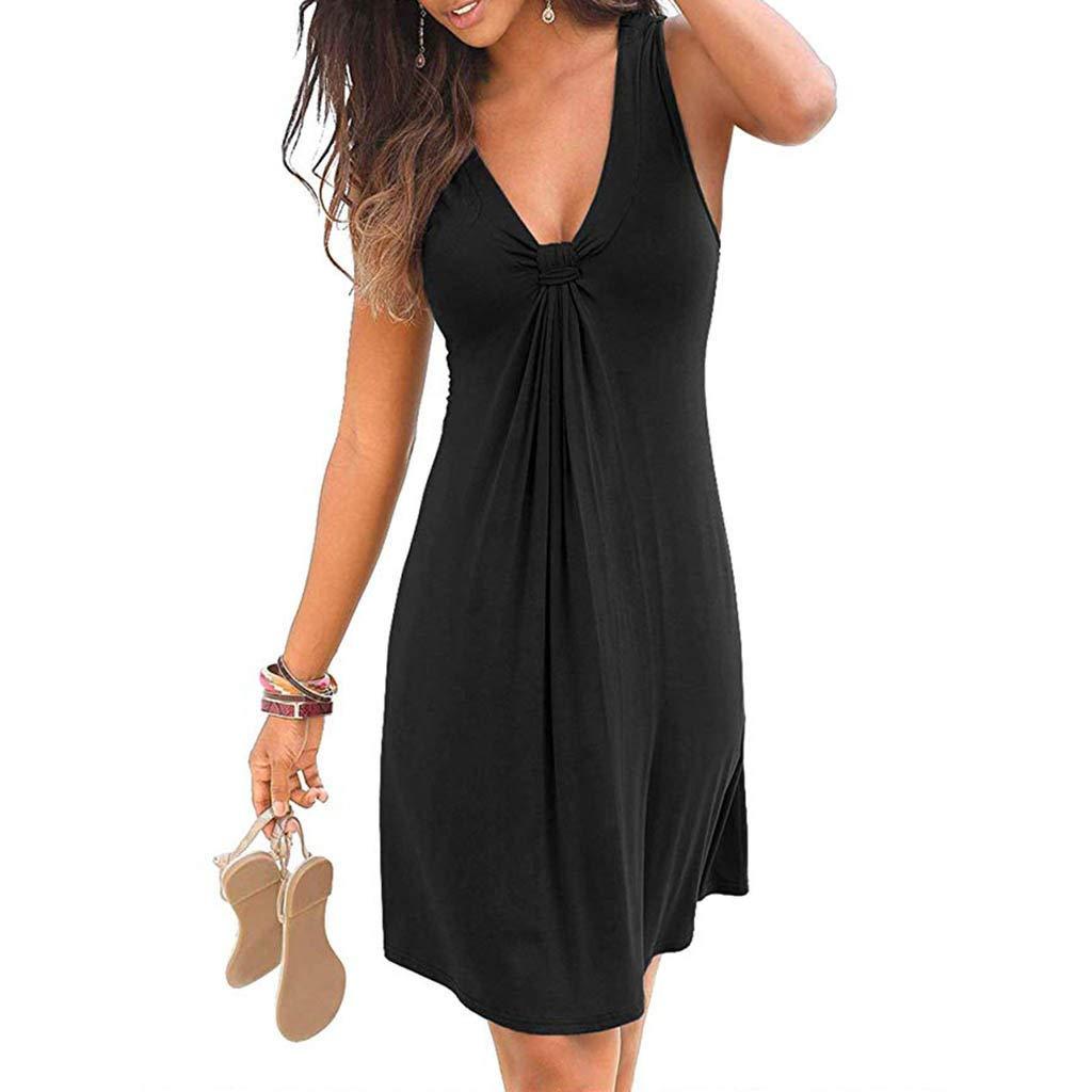 Veodhekai Womens Dress Pure V-Neck Sleeveless Hem Baggy Maxi Dress Casual Beach Short Dress Black