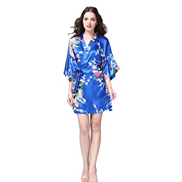 ZXYMUU Vestido de satén de Seda señoras Batas Pijamas de Encaje Falda Larga Dormir Vestido de Kimono Bata de baño Sexy Vestido de Las señoras Vestido ...