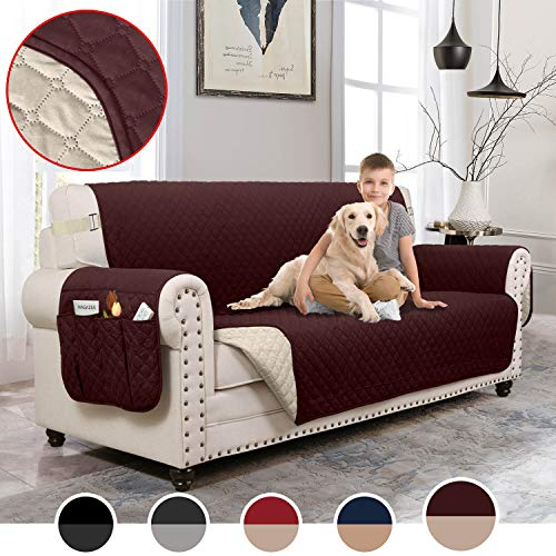 MOYMO Reversible Oversized Loveseat Cover,Durable Loveseat Slipover with Strap,Loveseat Protector with Pockets,Machine Washable Loveseat Covers for Dogs,Pets,Kids(Loveseat:Chocolate/Beige)
