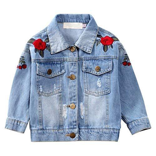 nouvelle arrivee 6f9b6 94ddc CHIC-CHIC Blouson Motard Veste Floral Imprimé Fille Garcon - Jeans Denim -  Manche Longue - Manteau Printemps Automne pour Enfant