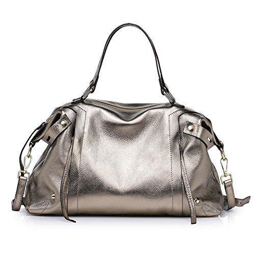 Kattee Ladies' Soft Cowhide Leather Tote Summer Shoulder Bag Fit 11.6