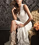 DreHouse Womens Lace Vintage Country Style Wedding Dresses Backless Plus Size