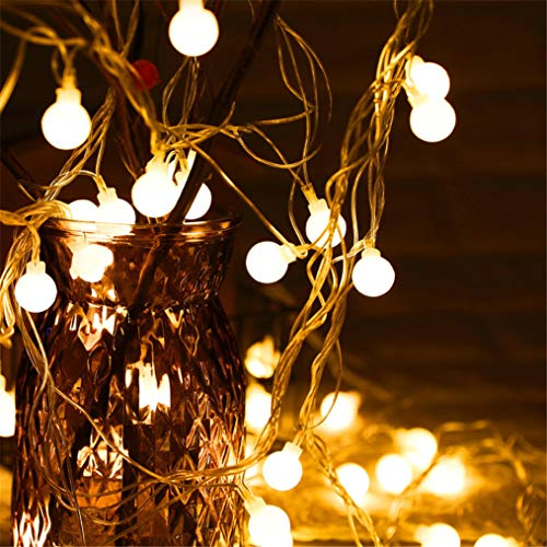 Globe String Lights, 32.8ft 100 LED 8 Modes Waterproof Warm White Plug in Ball Starry Fairy Lights for Outdoor Indoor Home Garden Bedroom Patio Wedding Party Fence Christmas Tree Gift (Warm White)
