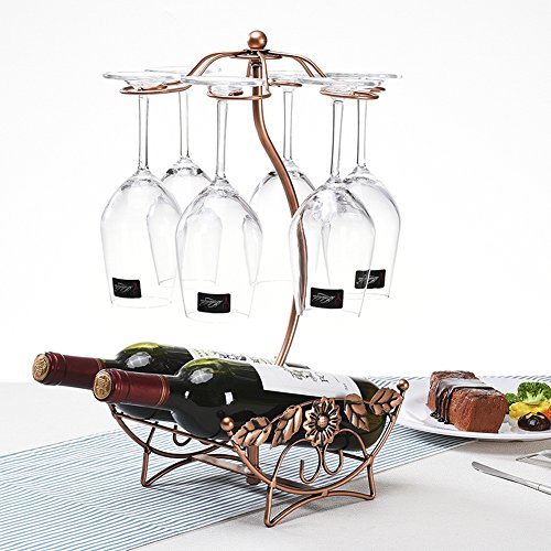 BAIXI Tabletop Wine Cup Rack Stemware Glass Storage Holder Wine Glass Rack 6 Hooks Metal Wine Cup Rack Stemware Glass Storage Organizer Air Drying (Rose gold) by BAIXI